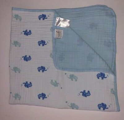 Blankets & Throws Anais Jungle Jive Blue Elephant Double Layer Cotton Stroller Blanket Bnwt Aden