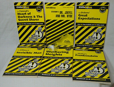 CLIFFS NOTES * Set of 6 * Book Paperback - Dr Jekyll Frankenstein Invisible