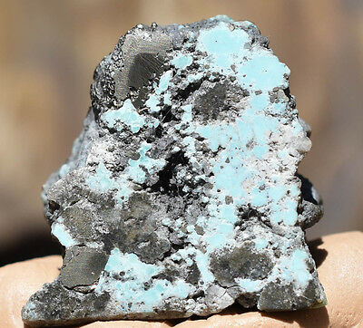 TURQUOISE GEM ROUGH NUGGET Natural polished chunk with pyrite inclusions