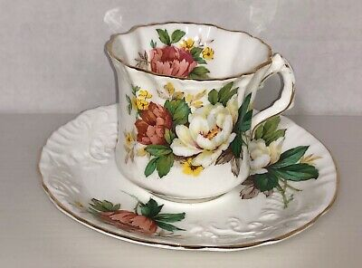 Hammersley & CO England Bone China Floral on White + Gold Trim Cup and Saucer