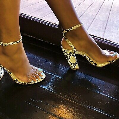 a76a56760c Liliana ILYSE-91 Faux Snake Clear Transparent Open Toe Ankle Strap Chunky  Heel