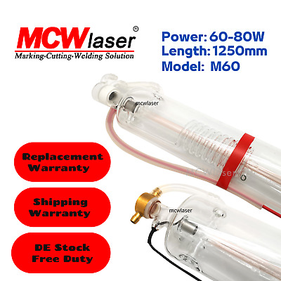 60W CO2 Laser Tube 1250mm Actual 60W-80W Free VAT & Duty For Engraving Cutting