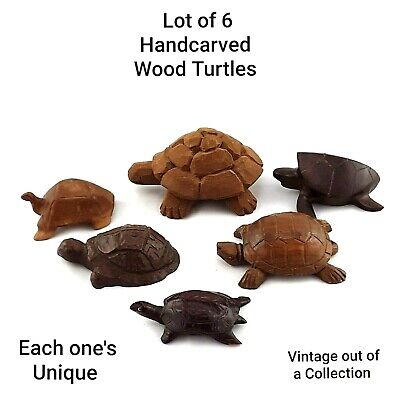 Vintage Small Turtle Figurines Lot of 6 Handcarved Wooden Tortoise Collectibles