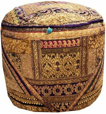 "25"" Exquisite Squin Sari Ottoman Bench Stool Pouffe Chair Pillow Cover Furniture"