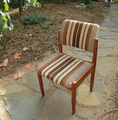 Vintage Australian Mid Century Modern CHISWELL Teak & Wool Dining Chairs (6)