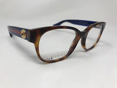 b8b30b1afd90 AUTHENTIC GUCCI Eyeglasses Italy GG0040O 003 51-18-140 Tortoise/Blue Red  EL07