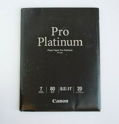 Canon Photo Paper Pro Platinum 8.5x11 20 Sheets NEW OPEN PACKAGE