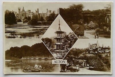 Alton Castle Towers Lake Gardens Pagoda 1929 Postcard (P305)