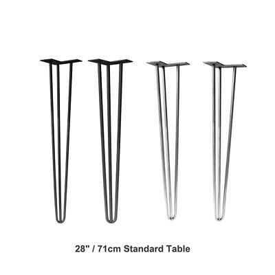 """4x 28""""/71cm Premium Hairpin 3 Prong Table Legs Steel Table Legs Naked Color"""
