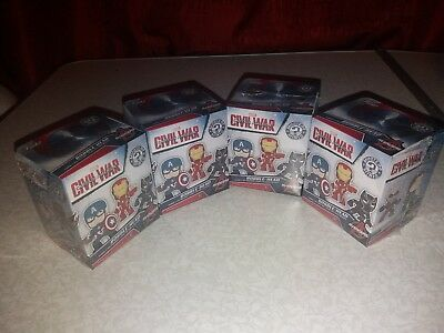 Funko Marvel Captain America Civil War Bobble Head Figures x4 Mystery Minis