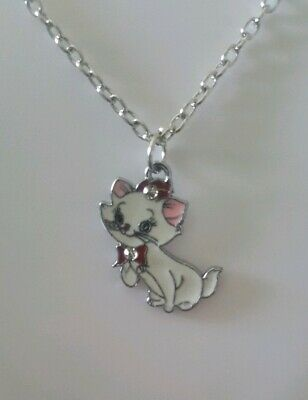 Disney The Aristocats Marie Cat Red Ribbon With Rhinestones On Silver Chain