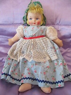 "Vintage/Antique Cloth Faced Doll.Possibly Norah Wellings? Georgene Averill? 14""."