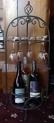 Decorative Metal Wine Holder Includes 6 Glasses & Full Bottles Of Wine As Pictur