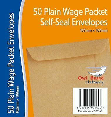 OWL 50 Pack Plain Wage Manilla Self Seal Adhesive Envelopes 102mm x 108mm New