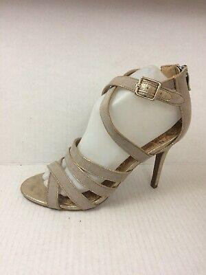 d4298fbc334 ANN TAYLOR GOLD Strappy Heeled Sandals Size 10 - $32.99 | PicClick