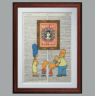 The Simpsons vs Obey Shepard Fairey - Make art... - dictionary page art print 1