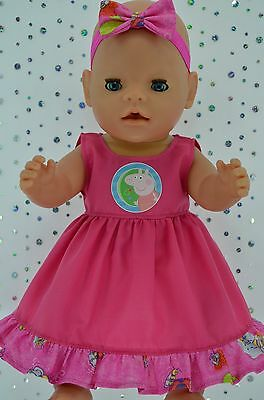 "Play n Wear Doll Clothes To Fit 17"" Baby Born PATTERN/HOT PINK DRESS~HEADBAND"