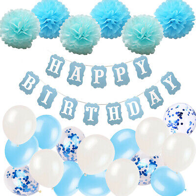 Happy Birthday Bunting Banner Balloons Party Decoration 18/21st/30/40/50/60th