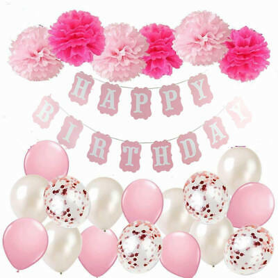 Happy Birthday Bunting Banner Balloons Pompom Party Decoration 18/21/30/40/50/60