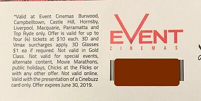 Event cinema $10 ticket voucher