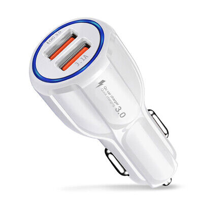 Quick Car Charger with Dual USB Port QC 3.0 White
