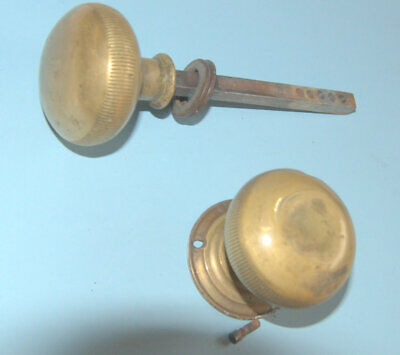 Pair of reclaimed Victorian brass door knobs for use with rimlock