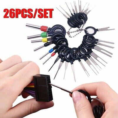 Car Terminal Removal Tool Wire Plug Connector Extractor Puller Release Pin 26PCS