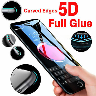 5D Full Coverage Tempered Glass Screen Protector for iPhone X Xs Max Xr 8 7 Plus