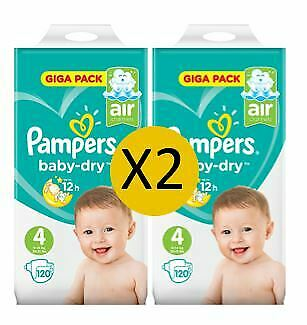 Pampers Couches Baby Dry Taille 4 Maxi Giga 9-14 kg (2 x 120)