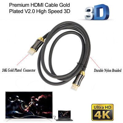 HDMI Cable PREMIUM Nylon Braided V2.0 Ultra 4k HD 3D Gold Plated Lead 18.6Gbps