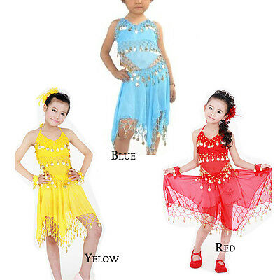 KIDS GIRLS BELLY Dance Top+Skirt Set Outfit Bollywood Coin Dancing Costume  Child