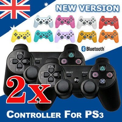 2 x BLACK Wireless Bluetooth Controller for Sony PS3 Plastation 3 + USB Cable AU