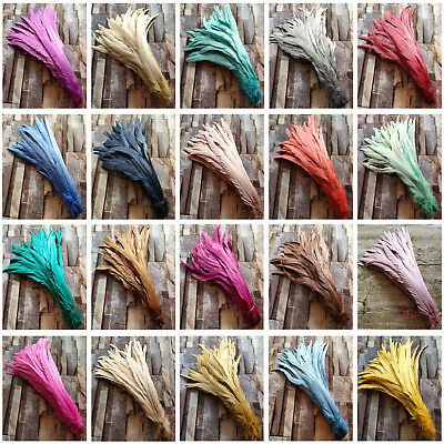 Beautiful 10-500 pcs Natural Rooster Feathers 30-40cm/12-16 inches 20 Color Opt