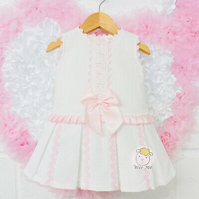 *SALE* Stunning Baby Girl Spanish Drop Waist Dress Pink Bow Romany