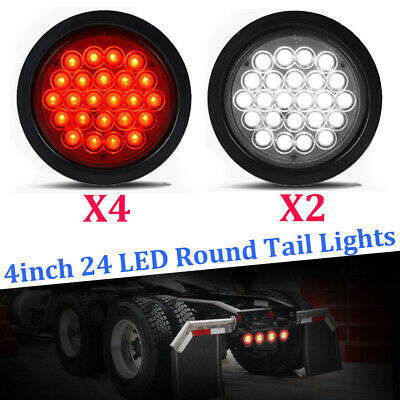 6x 4inch 24 LED Round Stop Turn Tail Backup Reverse Truck Lights 4 Red + 2 White