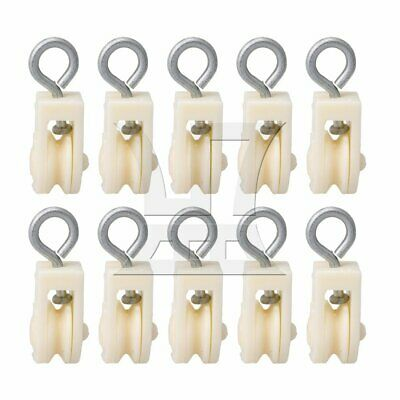 10 x Plastic 8mm Single Sheave Lift Pulley for Chicken Poultry Farms White