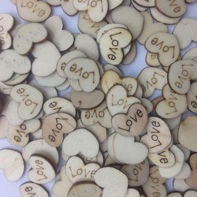Lots 100pcs Rustic Wooden Mini Love Heart Wood Wedding Craft Embellishment IT