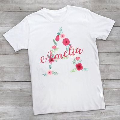 Personalised Flower Name & Initial Children's Kids T Shirts T-Shirt Top Summer