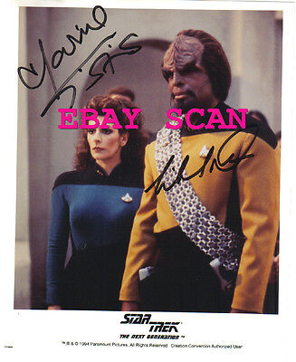 1994 Star Trek Hand Signed Autograph Photo by Marina Sirtis & Michael Dorn