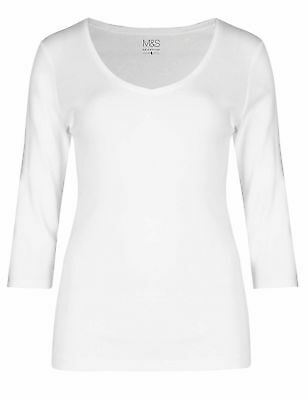 Marks & Spencer Womens White Pure Cotton 3/4 Sleeve V Neck M&S T Shirt Top