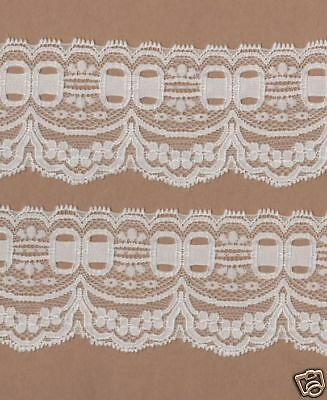 White Stretch Lace Trimming 5mts 2.9m Wide