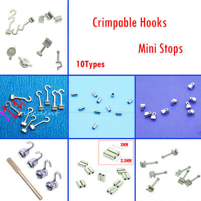 10 Type Dental Orthodontic Crimpable Hook Sliding/Spiral Cross/Double Tube Stops