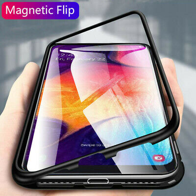 For Samsung Galaxy A50 A30 Magnetic Adsorption Metal Case Tempered Glass Cover