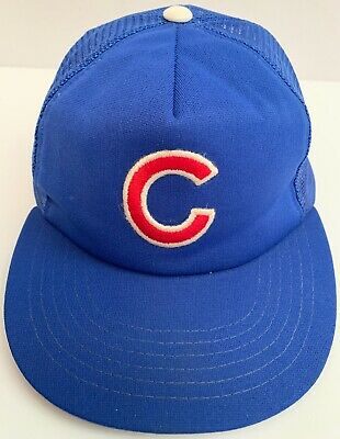 ee3fb484103 Vintage 1980 s Chicago Cubs MLB Baseball Snap Back Trucker Hat Cap RARE