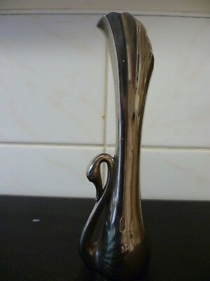 A Vintage, Chrome Plated Bud Vase, In The Shape Of A Swan. Swan Shaped Bud Vase