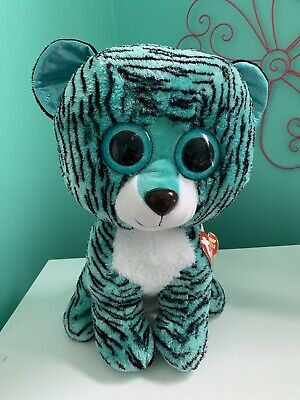 52adf775840 Large TY Beanie Boo Tess The Tiger Teal Blue 16 Inch justice Exclusive