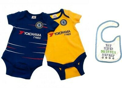 release date 168ce 14717 CHELSEA FC BABY Vests 2pk Bodysuit Bib Home Away Shirt Kit Football Gift  SALE