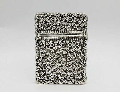 Indian solid silver antique card case box floral Kutch C.1880 132g