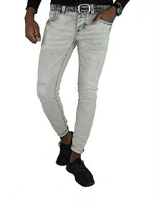 HERREN STYLE YOUNG SKINNY Fashion Grau STONEDWASHED SKINNY Slim FIT JEANSHOSE