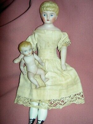 "German, antique bisque head 9"" dollhouse style, lady doll & jtd. all bisque Baby"